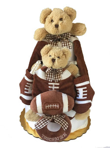 Touch Down Teddy Bear Diaper Cake - Melon Bellies