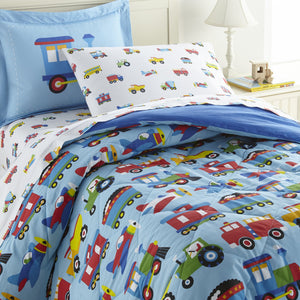 Wildkin Trains, Planes, Trucks 100% Cotton Bed in a Bag - Melon Bellies
