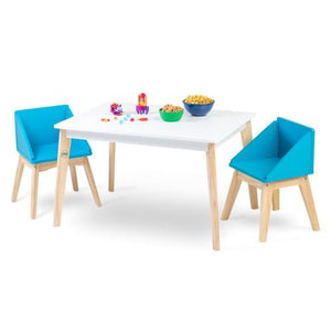 Wildkin Modern Table and Chair Set - White Table Natural Legs with Blue Chairs - Melon Bellies