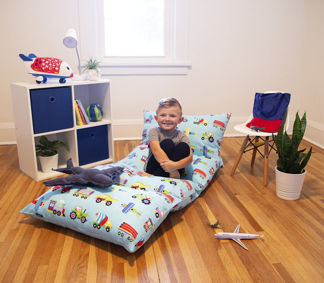 Wildkin Trains, Planes & Trucks Pillow Lounger - Melon Bellies