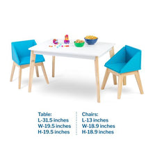 Load image into Gallery viewer, Wildkin Modern Table and Chair Set - White Table Natural Legs with Blue Chairs - Melon Bellies