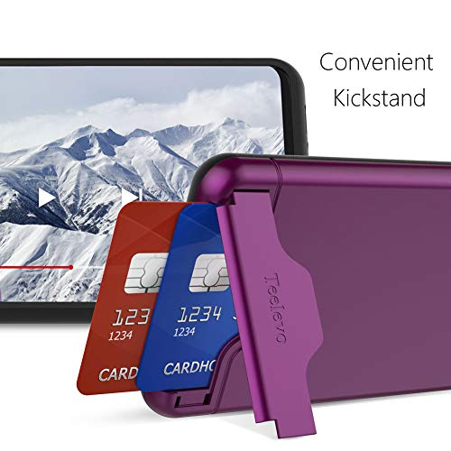 brand new 69214 b18ef Teelevo Wallet Case for Galaxy S10 - Dual Layer Case with Card Slot Holder  and Kickstand for Samsung Galaxy S10 (2019) - Purple