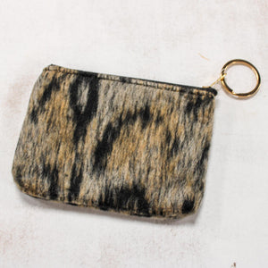 Leopard Print Coin Keychain Pouch-Taupe