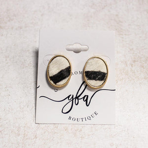 Oval Zebra Stud Earrings