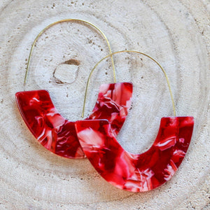 Red Marbled Acrylic Earring