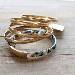 Resin and Gold Bangle Set
