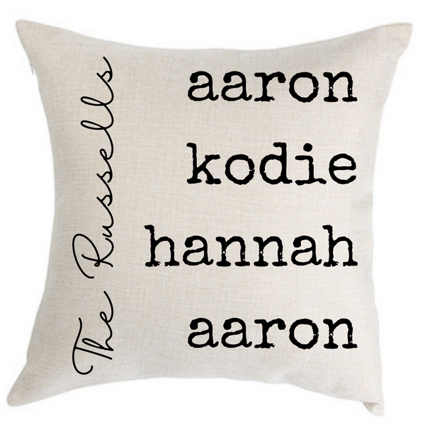 Personalized Family Names Pillow