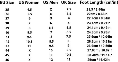 Shoe Size Chart, Trendz Worldwide