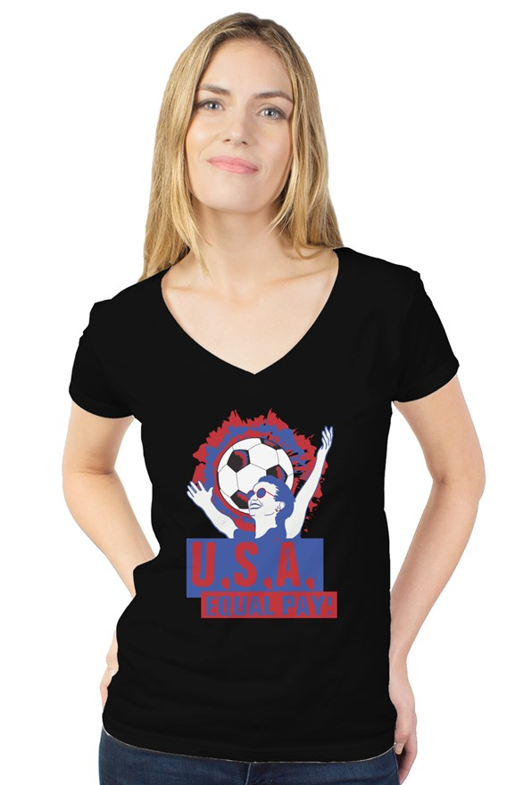 Equal Pay USA Women's Soccer Black Tee - Trendzz Worldwide