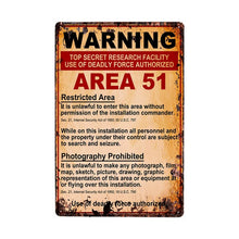 Load image into Gallery viewer, Area 51 Vintage Metal Wall Plaques - Trendzz Worldwide