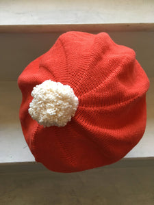 Orange Red Cotton Beret with Pompom