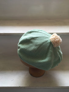 Mint Green Cotton Beret with Pompom