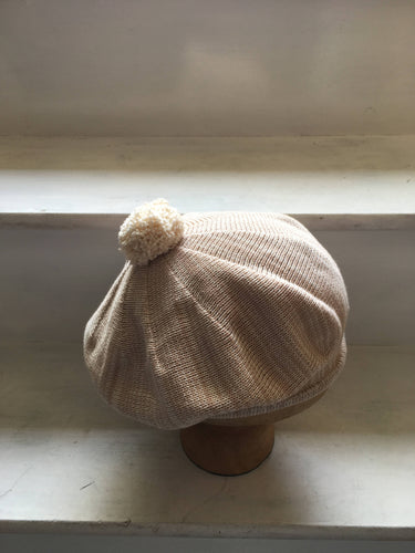 Beige and Cream mix Cotton Beret with a Rolled Hem and Cream Pompom on top, by Lord and Taft