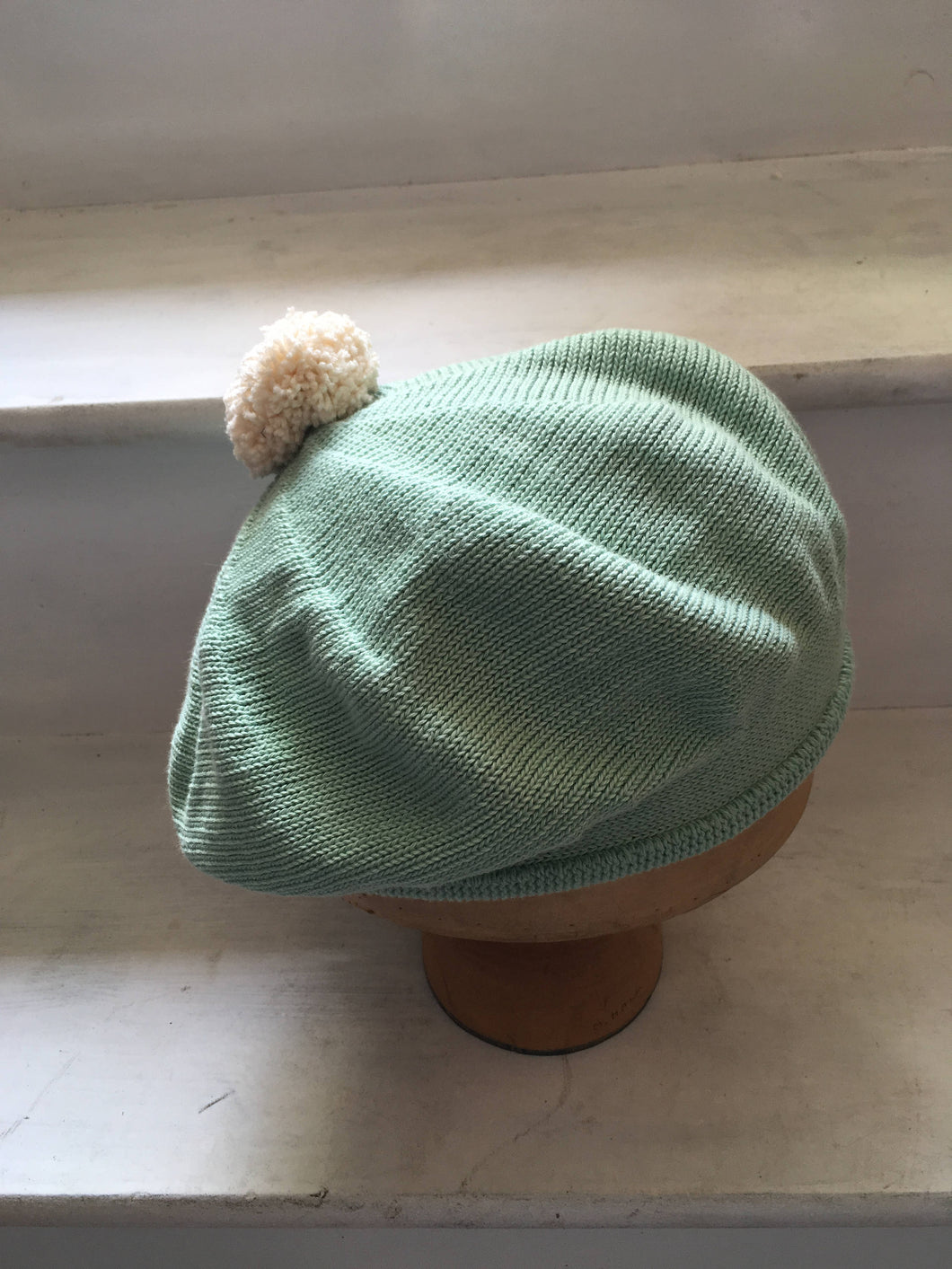 Lord and Taft Mint Green Cotton Knitted Beret with Cream Pompom on top