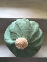 Load image into Gallery viewer, Mint Green Cotton Beret with Pompom