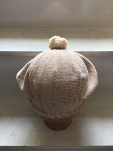 Beige Cotton Pompom Beret