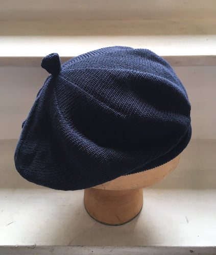 Lord and Taft Navy Blue Cotton Knitted French Style Beret