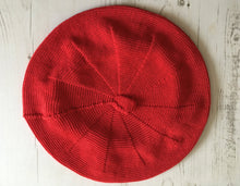Load image into Gallery viewer, Red Cotton Knitted French Style Beret