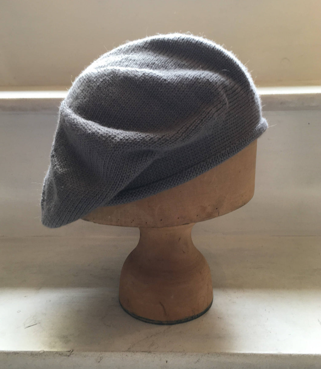 Grey Alpaca and Silk Blend Knitted Scottish Tam Hat by Lord and Taft