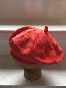 Orange Red Cotton French Style Beret