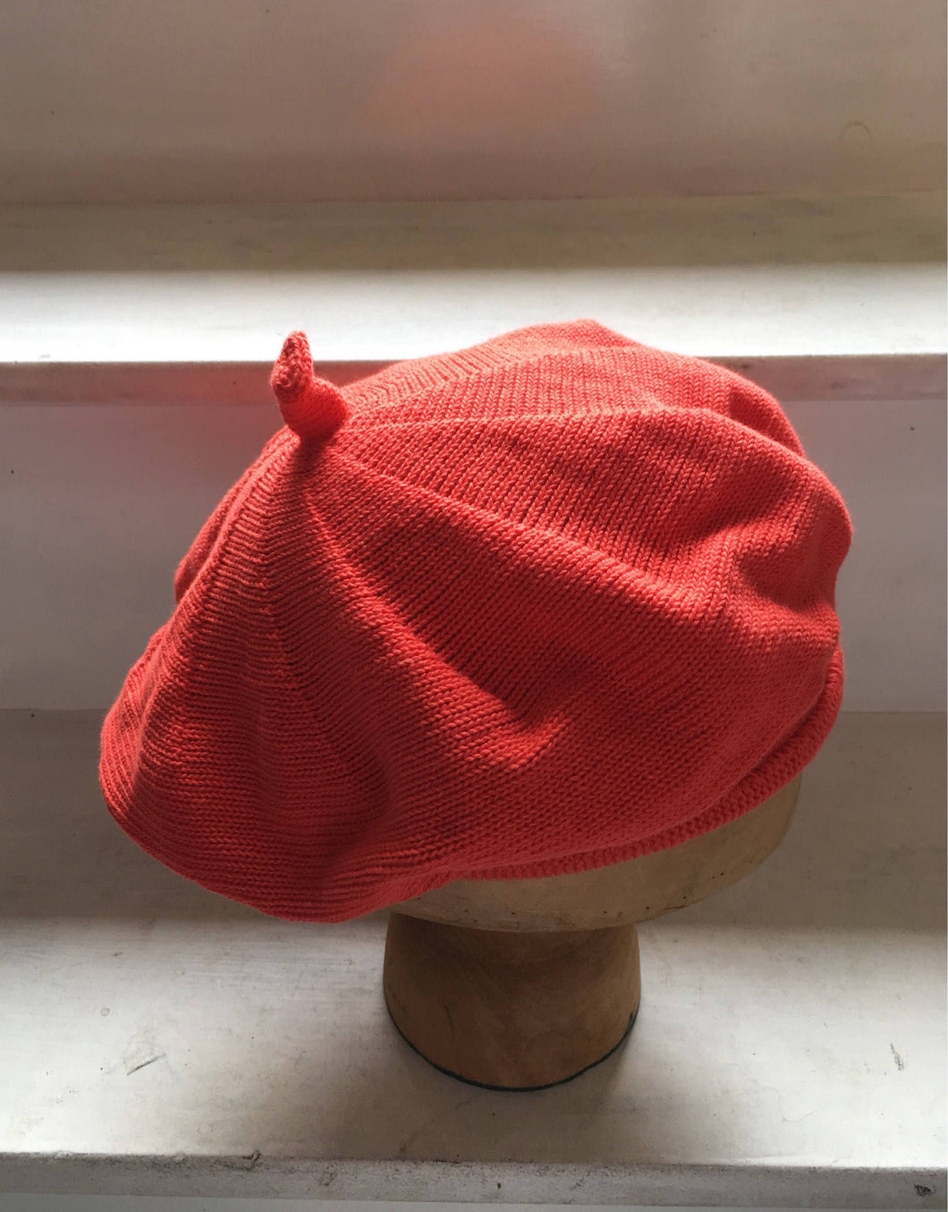 Lord and Taft Orange-Red Cotton Knitted French Style Beret