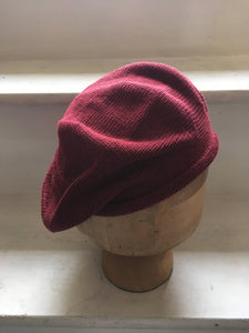 Burgundy Cotton Knitted Simple Unisex Tam