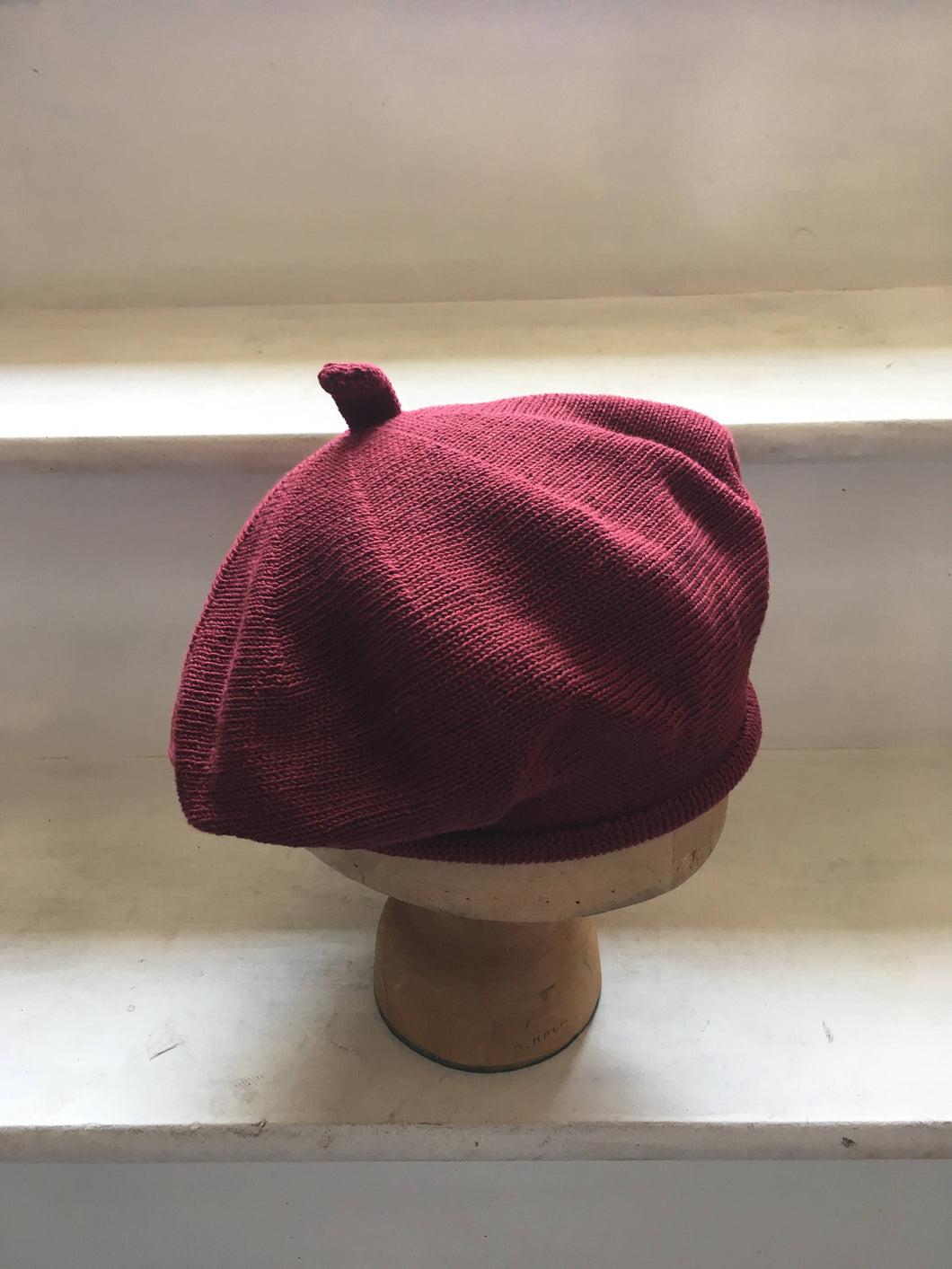 Burgundy Cotton French Style Knitted Beret by Lord and Taft