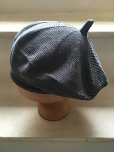 Grey Blue Cotton French Style Beret
