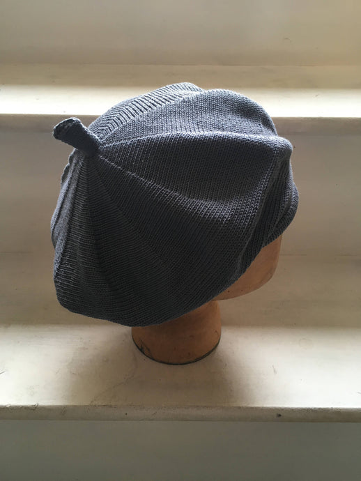 Lord and Taft Airforce Blue Grey Cotton Knitted French Style Beret
