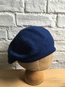 French Blue Alpaca Silk Knitted Beret