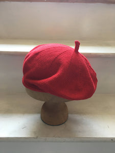 Red Cotton Knitted French Style Beret