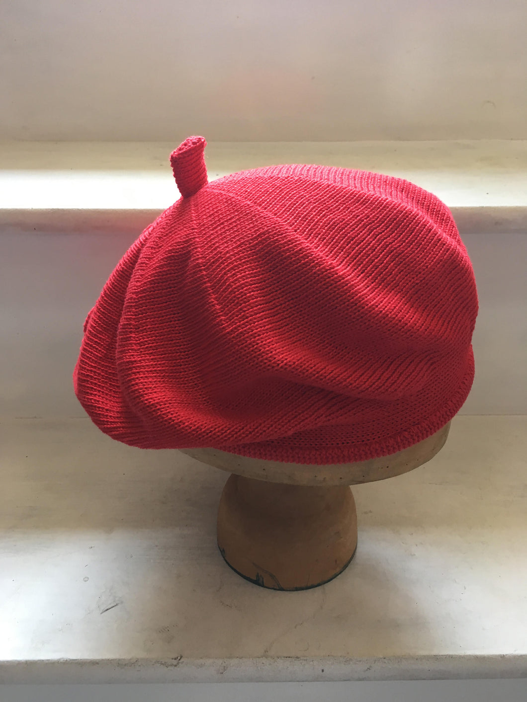 Bright Red Cotton Knitted French Style Beret by Lord and Taft