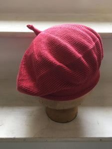 Raspberry Red Cotton Knitted French Style Beret with tab at Top and Rolled Hem, by Lord and Taft