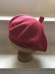 Raspberry Red Cotton Knitted French Style Beret