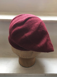 Burgundy Cotton Knitted Tam with Rolled Hem for Men or Women