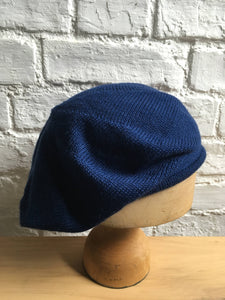 French Blue Knitted Alpaca and Silk Tam Hat for Men or Women, by Lord and Taft