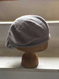 Light Grey Alpaca Silk Knitted Beret