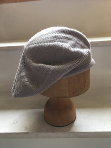 Lord and Taft Pale Grey Alpaca and Silk Knitted Tam Style Beret