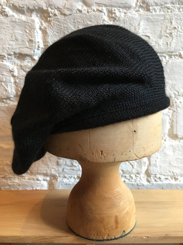 Unisex Black Knitted Alpaca and Silk Mix Knitted Tam Hat with a Rolled Hem, by Lord and Taft