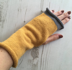 Mustard Yellow Fingerless Alpaca Gloves with Grey Trim