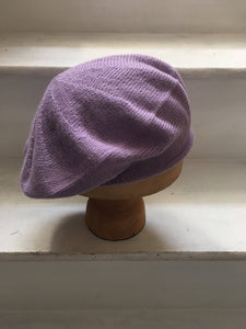 Lilac Alpaca Knitted Tam Beret Hat by Lord and Taft