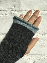 Load image into Gallery viewer, Lord and Taft Charcoal Grey Alpaca Fingerless Gloves with Duck Egg Blue Edge