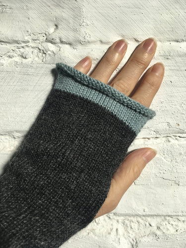 Lord and Taft Charcoal Grey Alpaca Fingerless Gloves with Duck Egg Blue Edge
