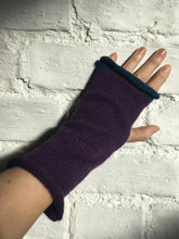 Load image into Gallery viewer, Purple Alpaca Fingerless Gloves with Blue Trim