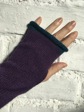 Load image into Gallery viewer, Purple Alpaca Knitted Fingerless Gloves with Blue Trim at Fingertips. By Lord and Taft