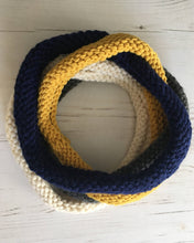 Load image into Gallery viewer, Mustard, Cream, Blue and Grey Handknitted Looped Neckwarmer