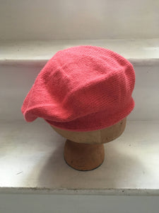 Coral Pink Knitted Alpaca Beret