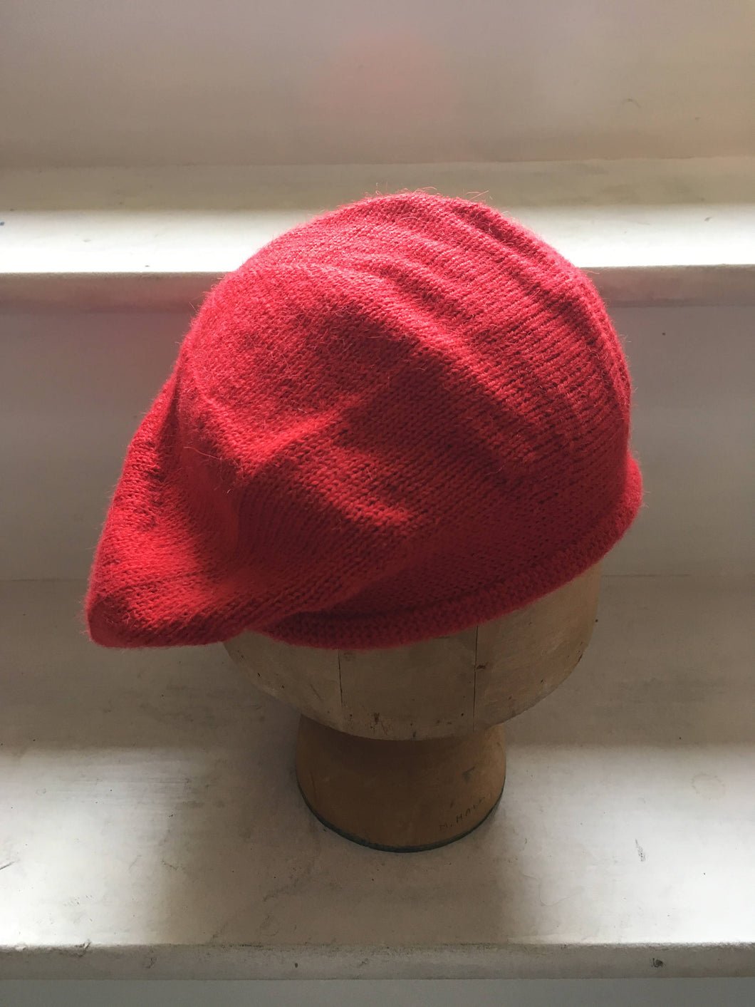 Lord and Taft Bright Red Alpaca Knitted Tam Style Beret