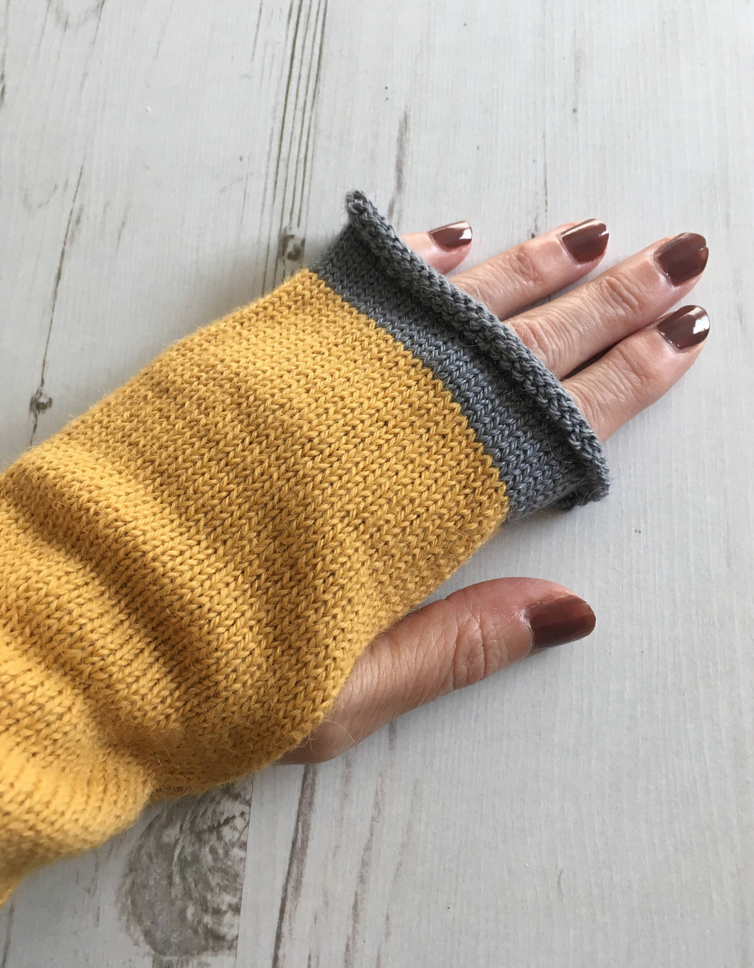 Lord and Taft Mustard Yellow Alpaca Fingerless Gloves with Grey Trim