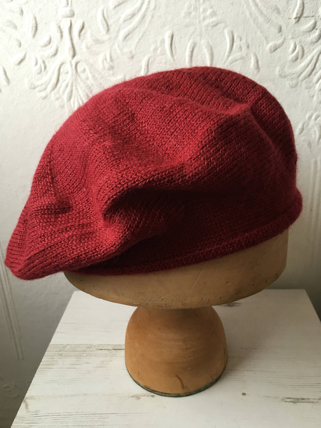 Lord and Taft Light Maroon Alpaca Knitted Tam Style Beret